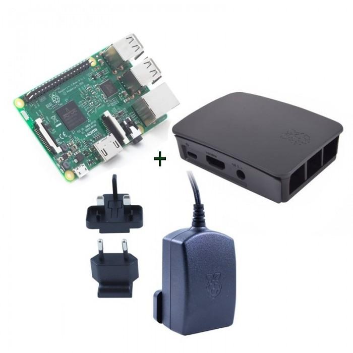 Raspberry kit Pi 3 caja negra fuente 5.1V